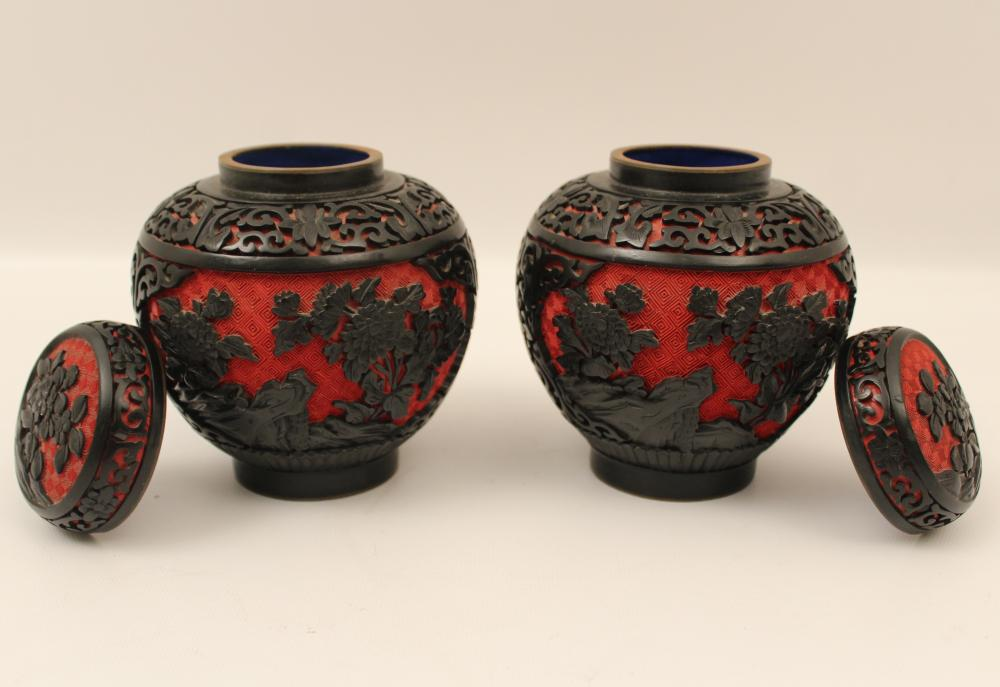 Lot 86: PR. OF CHINESE CINNABAR CAPPED JARS