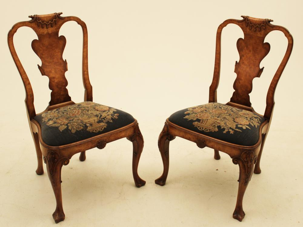 Lot 85: PR. OF ENGLISH QUEEN ANNE STYLE CHAIRS