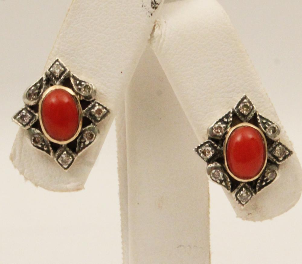 Lot 87: PR. OF 18K DIAMOND AND CORAL EARRINGS