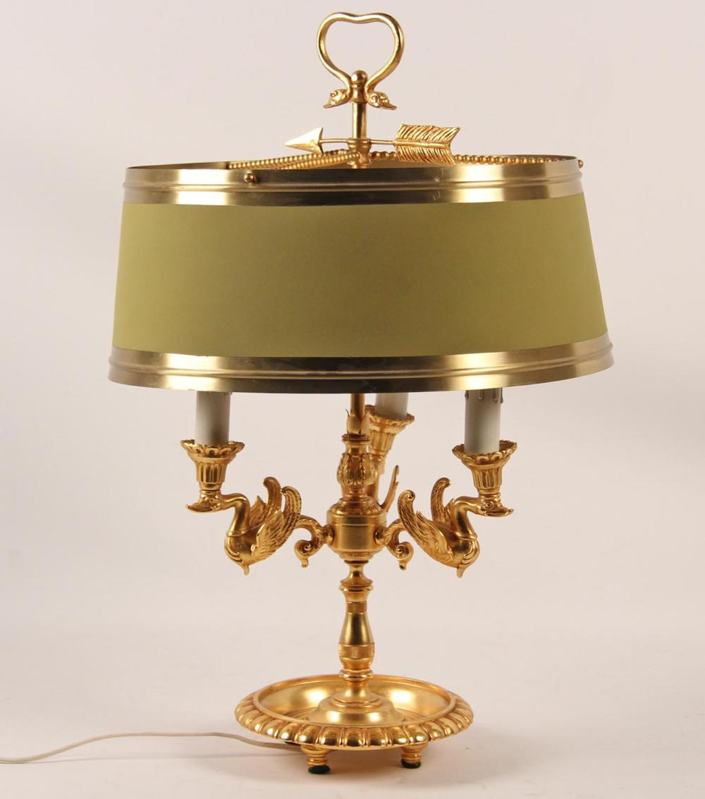 Lot 205: FRENCH EMPIRE STYLE DORE BOUILLOTTE LAMP