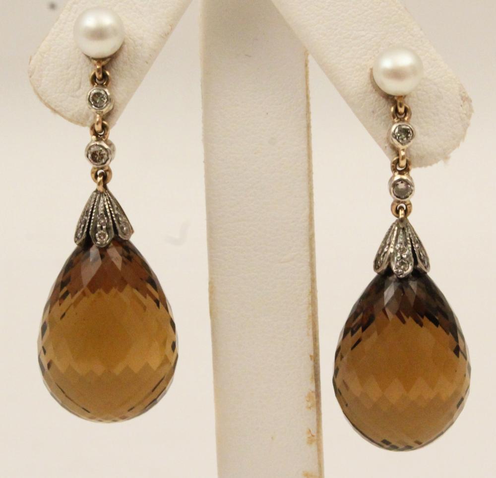 18K GOLD DIAMOND AND CITRINE DROP EARRINGS