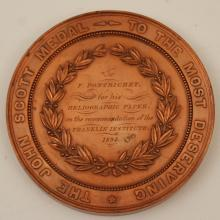 Lot 216: 1894 JOHN SCOTT MEDAL BY FRANKLIN INSTITUTE