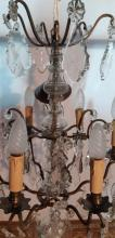 Lot 101: FRENCH CRYSTAL AND BRONZE 6 LIGHT CHANDELIER