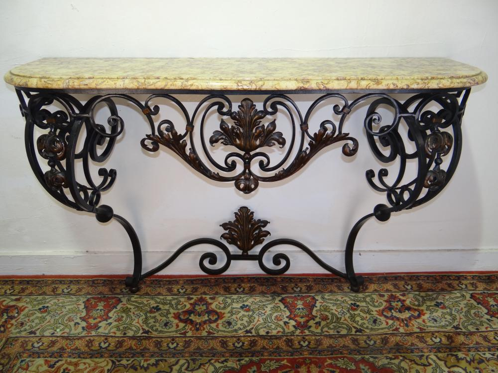 FRENCH WROUGHT IRON AND M/TOP CONSOLE