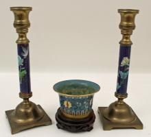 Lot 157: 6 PC. MISC. LOT; ENAMELED BOOKENDS, ETC.
