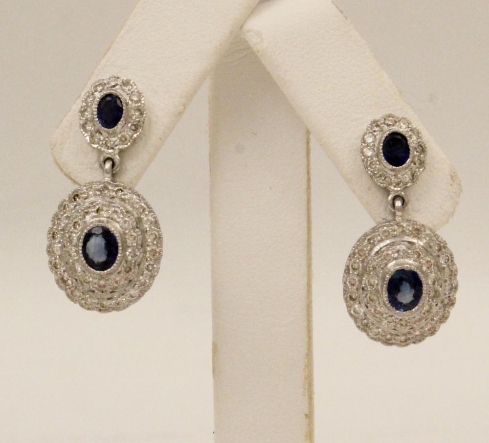 Lot 248: PR. OF18K DIA. AND BLUE SAPPHIRE EARRINGS
