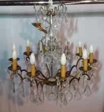 Lot 133: FRENCH 10 LIGHT CRYSTAL AND BRONZE CHANDELIER