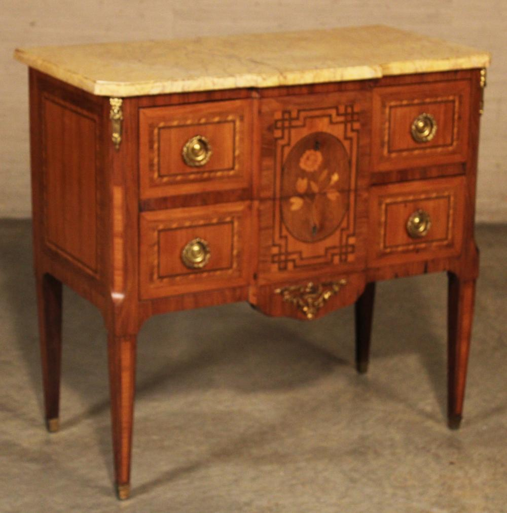 Lot 182: FRENCH MARQUETRY 2 DRAWER COMMODE