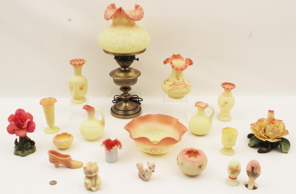 Lot 202: 19 PCS. OF BURMESE ART GLASS BY FENTON