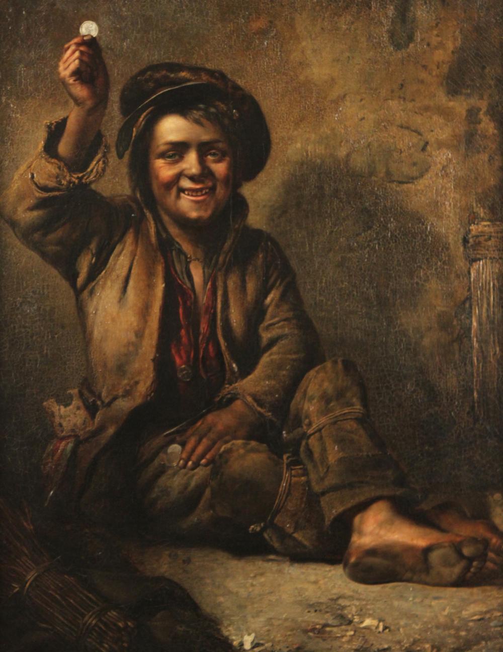 Lot 174: 19TH C. O/C MANNER OF JOHN GEORGE BROWN