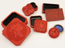 Lot 233: 9 PC. LOT OF CARVED CINNABAR