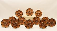 Lot 145: 12 FRENCH FAIENCE OYSTER PLATES