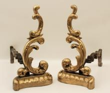 Lot 206: 3 PC.; FRENCH PANTIERE AND PR. ANDIRONS