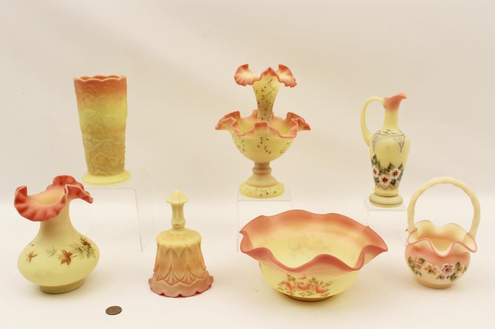 7 PC. LOT OF BURMESE ART GLASS BY FENTON