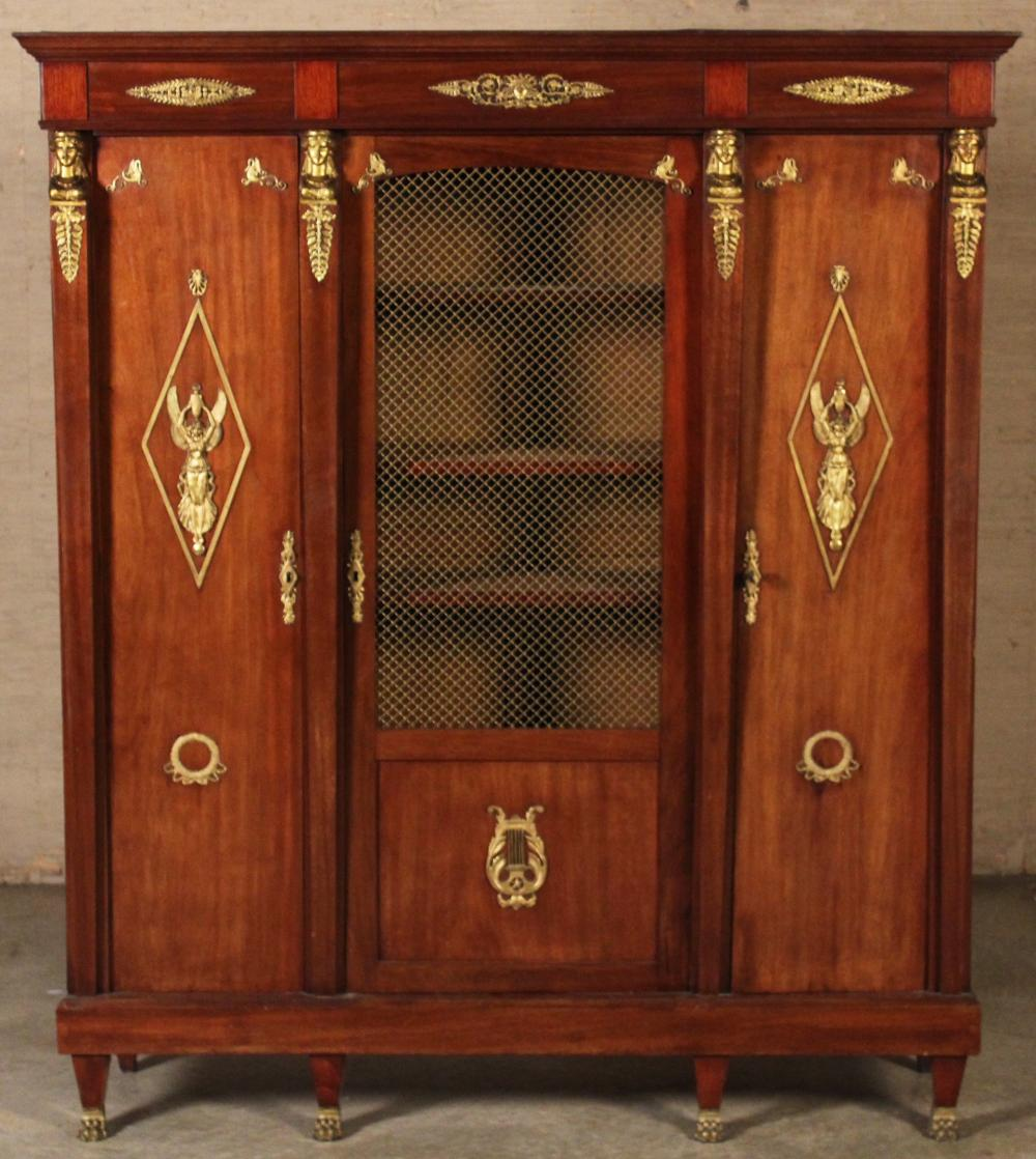 Lot 235: FRENCH EMPIRE STYLE MAH. BIBLIOTHEQUE