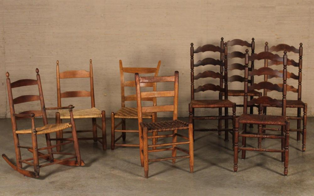 Lot 219: COLLECTION OF 8 AMERICAN CHAIRS