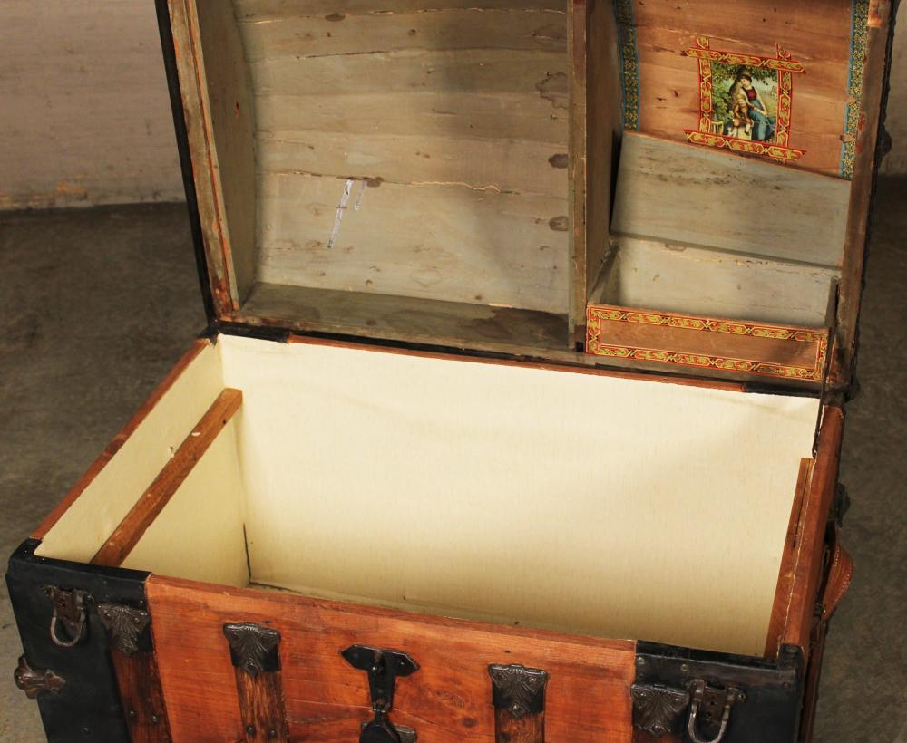 Lot 189: 2 LEATHER AND BRASS BOUND STEAMER TRUNKS
