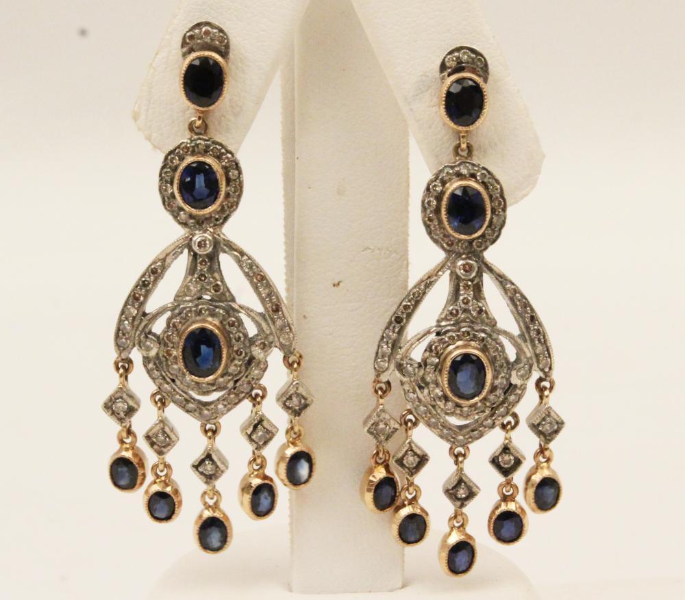 18K GOLD DIAMOND AND BLUE SAPPHIRE EARRINGS