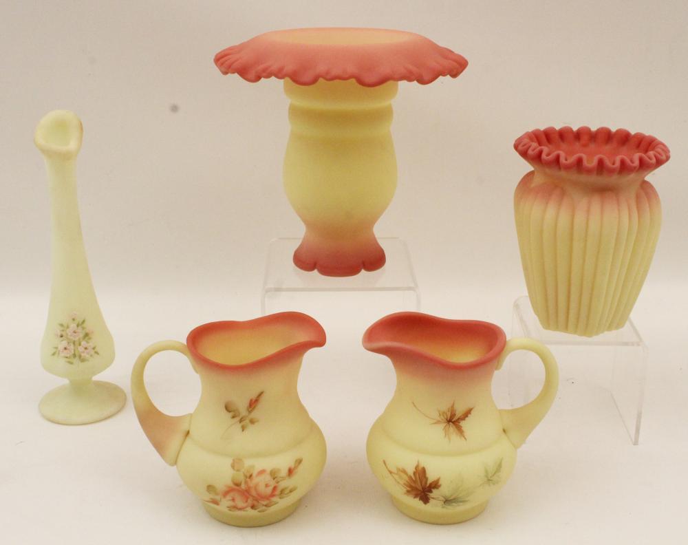 Lot 228: 19 PC. LOT OF BURMESE ART GLASS BY FENTON