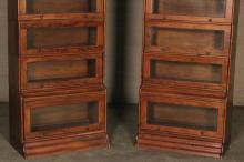 Lot 220: PR. OF AMERICAN CHERRY BOOKCASES