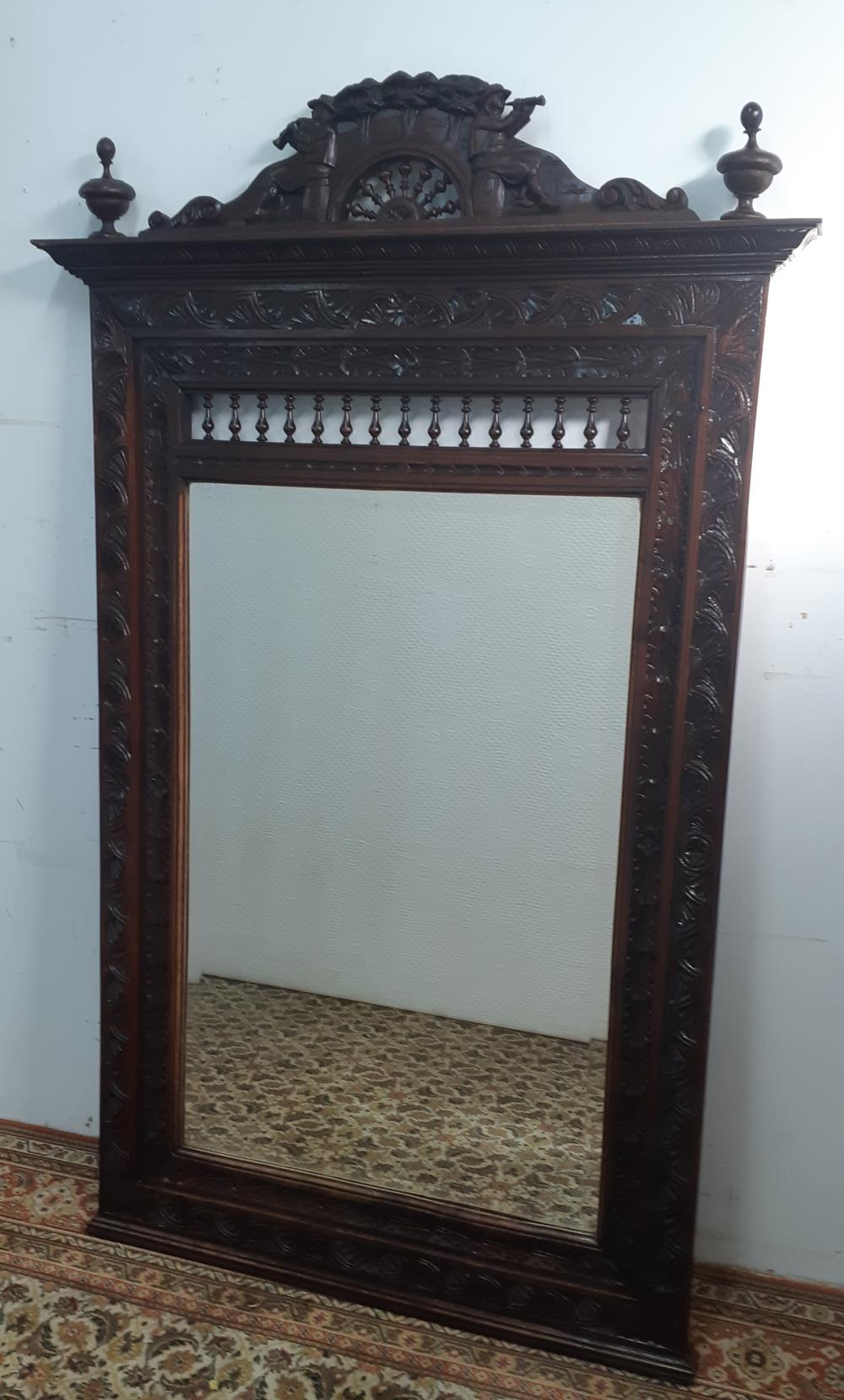 Lot 231: FRENCH CARVED OAK BRITTANY STYLE MIRROR