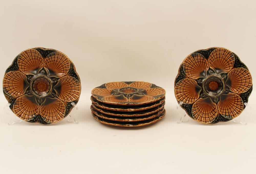 Lot 325: 8 FRENCH MAJOLICA OYSTER PLATES