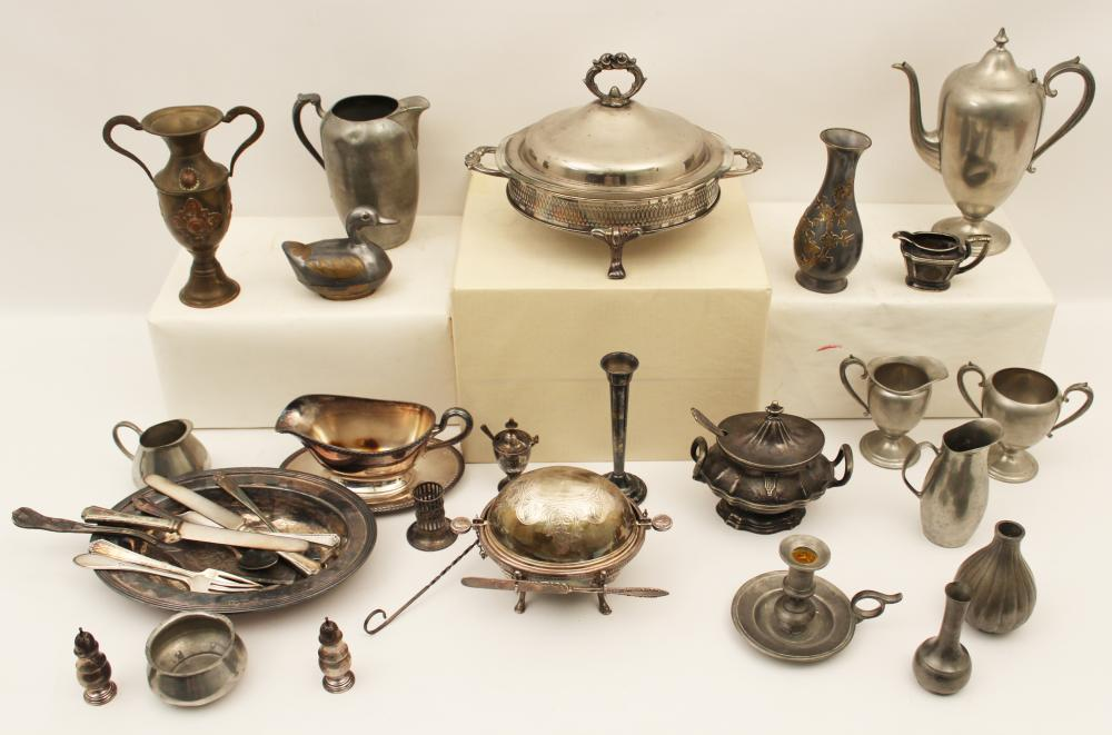 Lot 310: MISC. LOT OF SILVER PLATE AND PEWTER