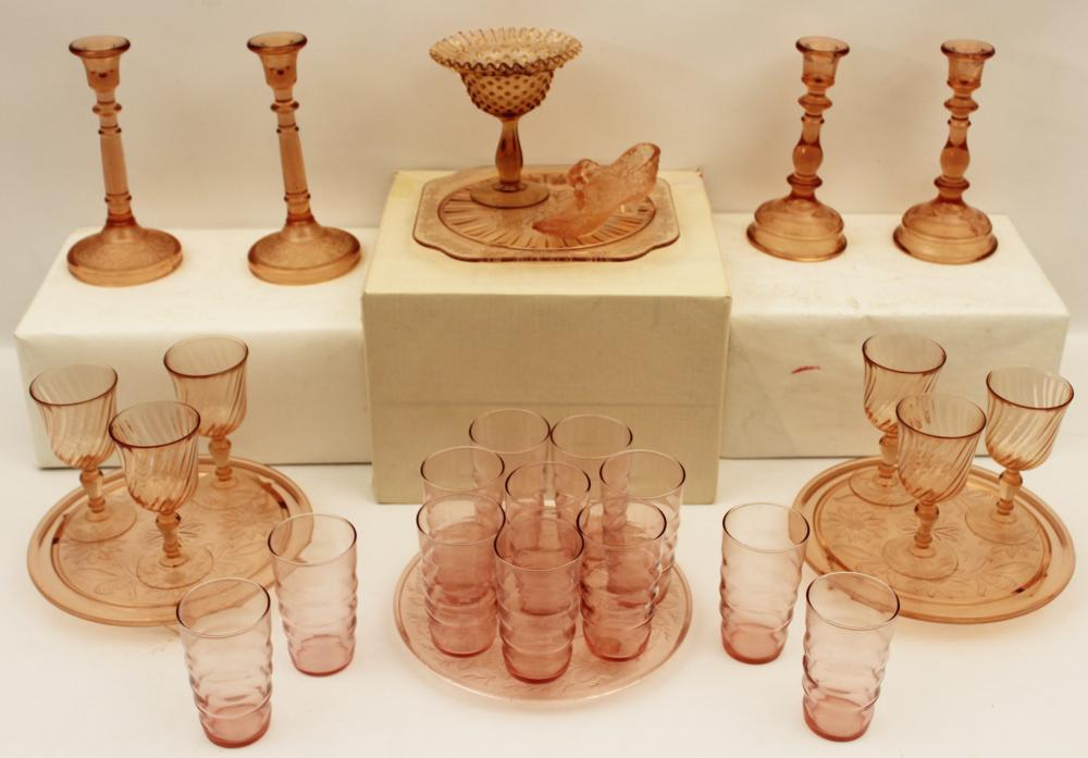 Lot 307: 27 PCS. OF PINK DEPRESSION GLASS