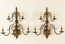 Lot 342: PR OF LESTER BERRY BRASS WALL SCONCES