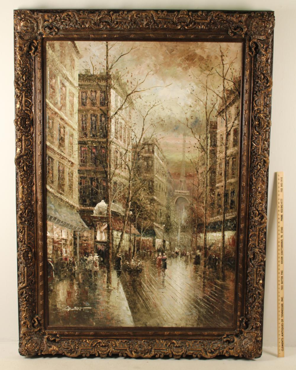 Lot 340: PALACIAL O/C PARIS STREET SCENE