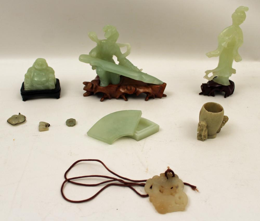 Lot 270: 9 PC. MISC. LOT OF JADE ITEMS