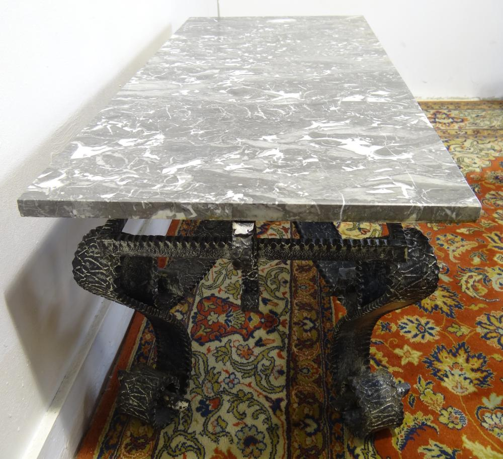 Lot 305: LOUIS XV STYLE MARBLE TOP IRON LOW TABLE