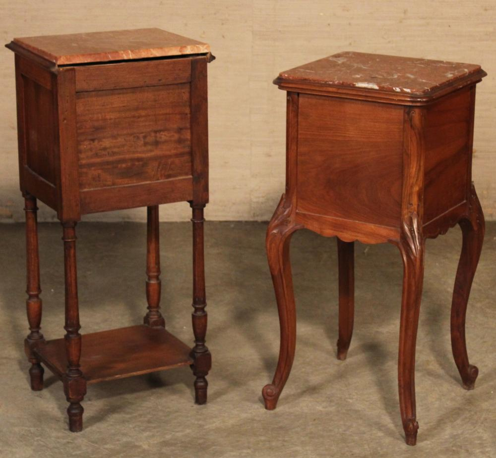 Lot 293: 2 FRENCH MARBLE TOP CHEVETS