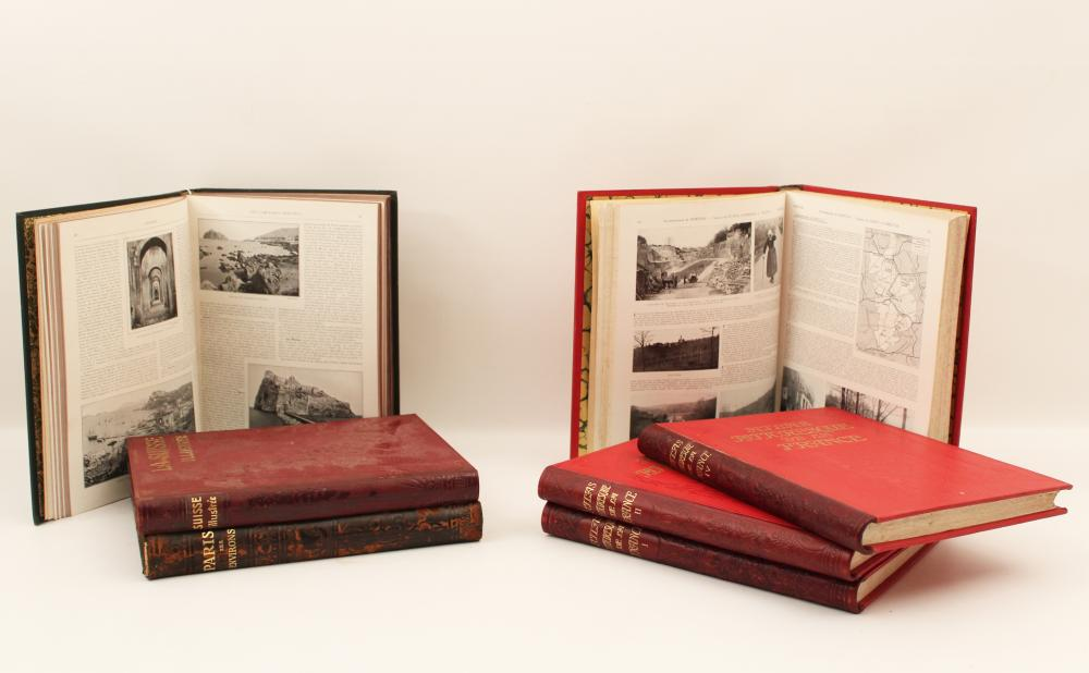 Lot 282: MISC. LOT OF LEATHER BOUND BOOKS, ETC.