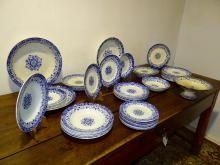 Lot 329: 44 PC. LOT OF FRENCH BLUE TRANSFER WARE