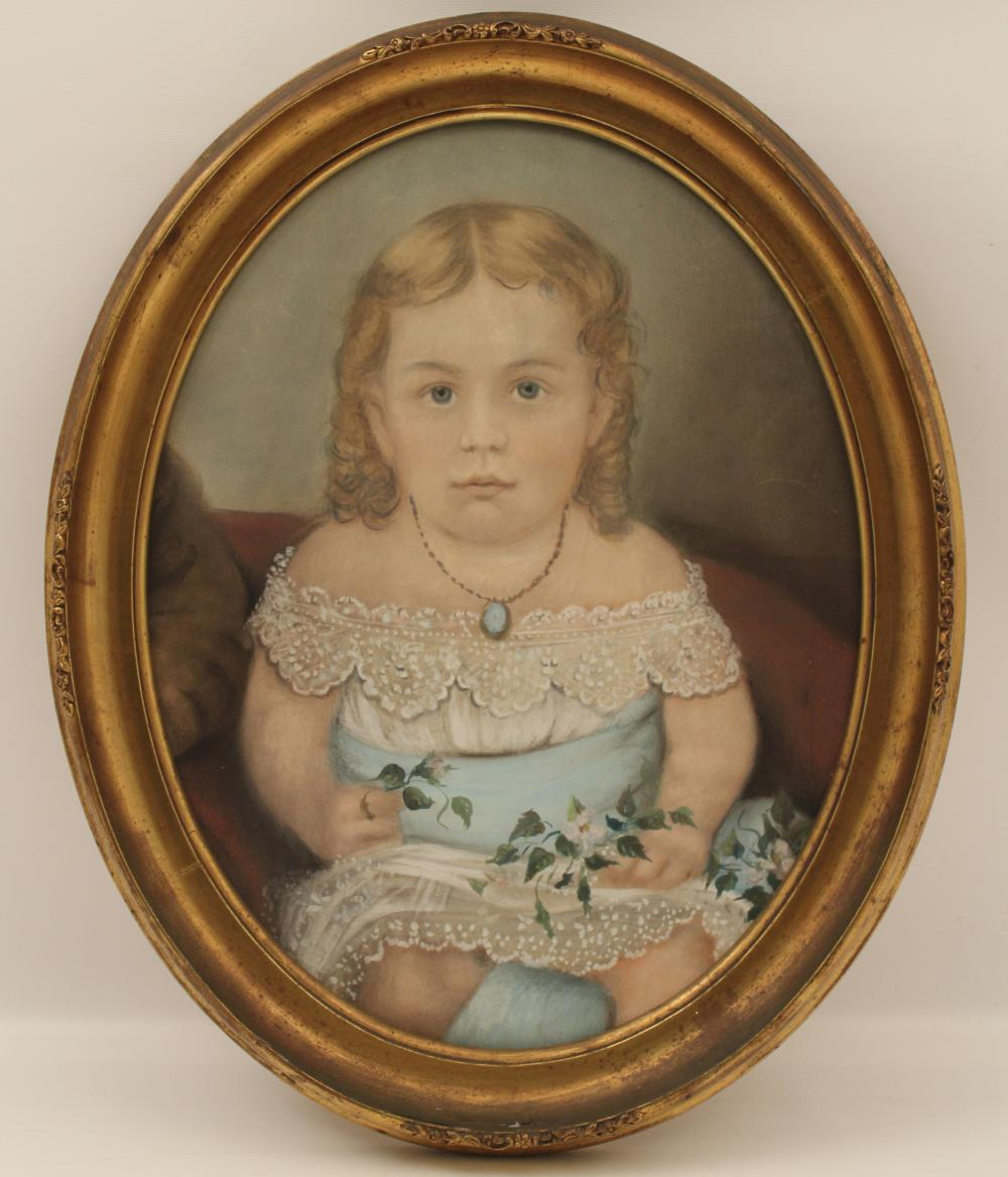 Lot 297: OVAL FRAMED PASTEL OF YOUNG GIRL