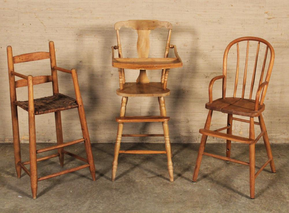 Lot 284: 3 AMERICAN HIGH CHAIRS