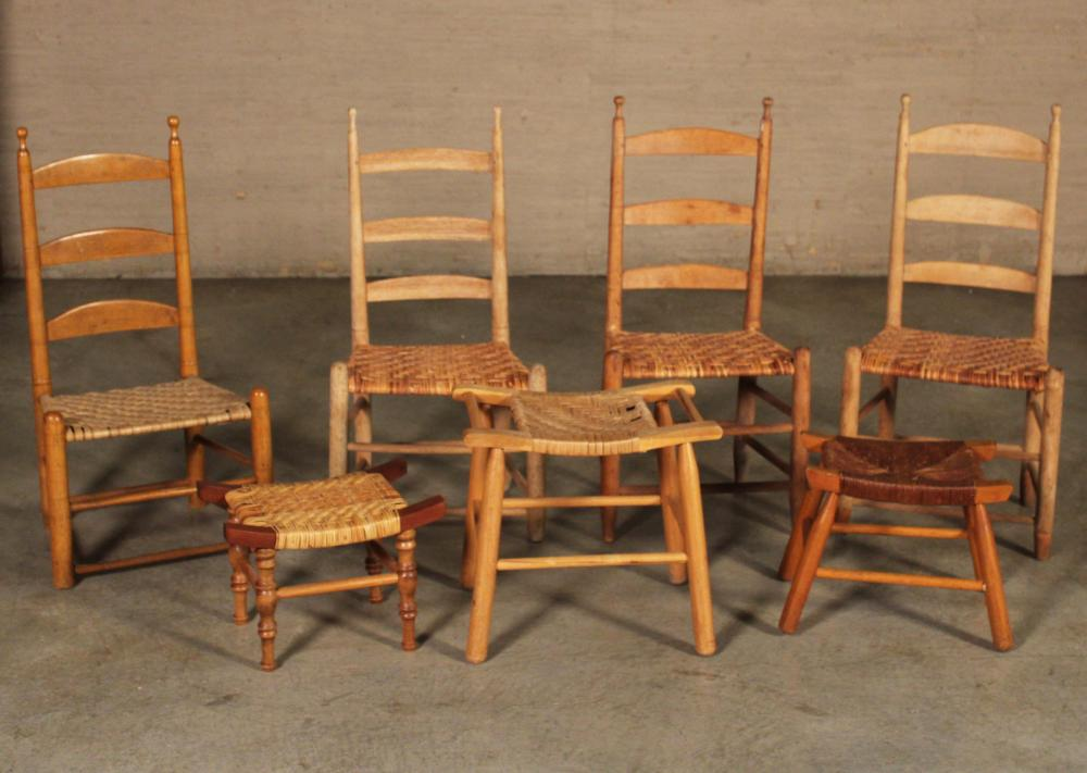 Lot 290: GROUP OF 7 AMERICAN CHAIRS