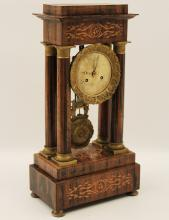 Lot 65: MARQUETRY PORTICO CLOCK