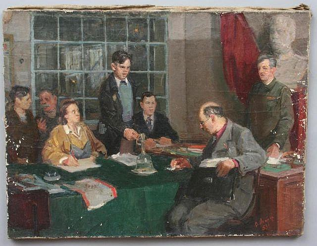 V.I. Nekrassov Russian Oil Painting of a Board Meeting