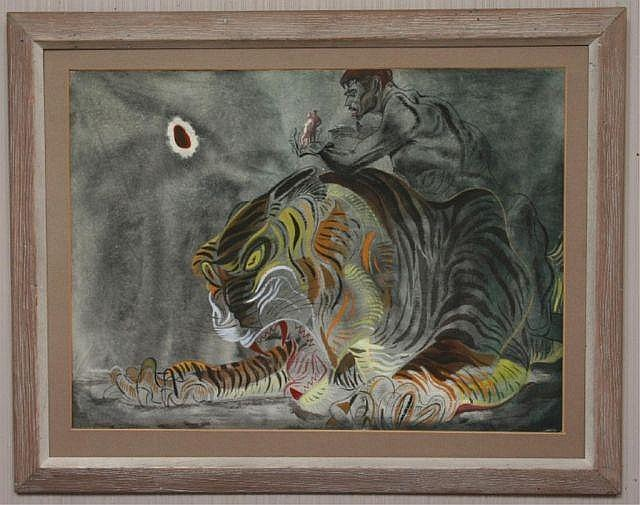Paul Travis Cleveland School Tiger Pastel Drawing