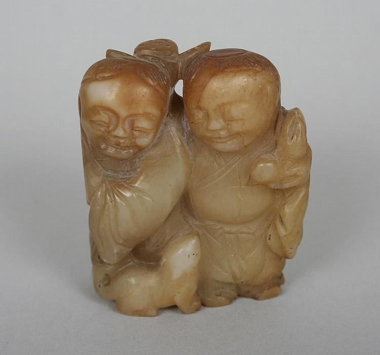 Antique Chinese Jade Carving of Two Boys and a Dog