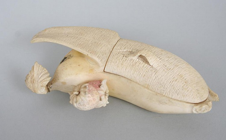 Antique Chinese Ivory Banana Form Box
