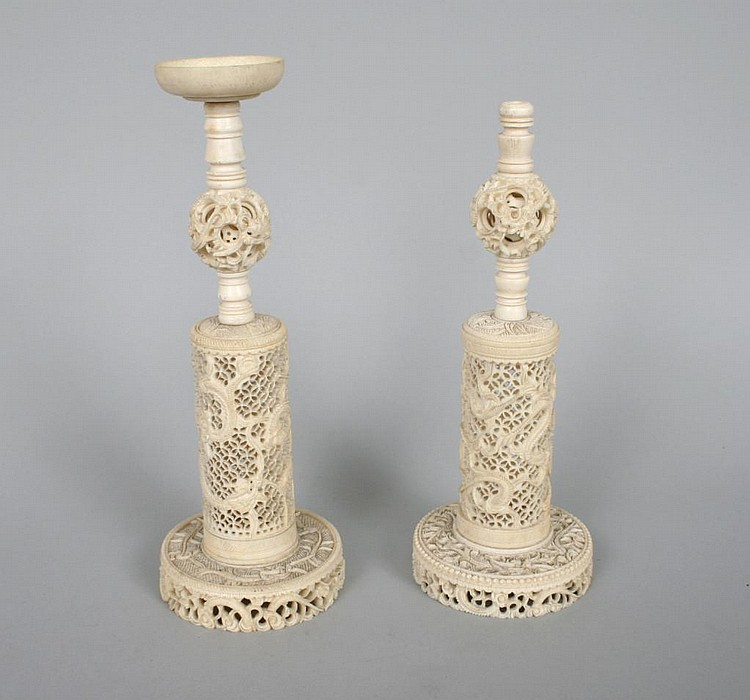 Group of Antique Ivory Puzzle Ball Stands