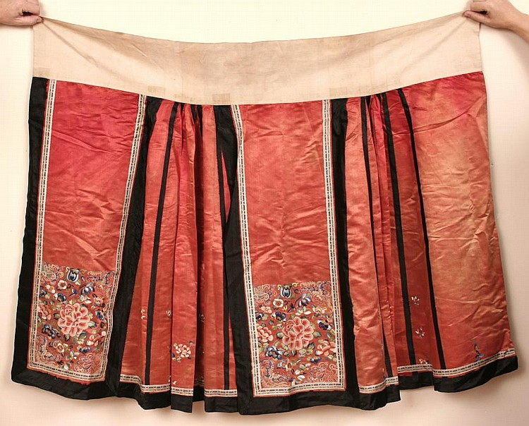Two Antique Chinese Embroidered Skirts