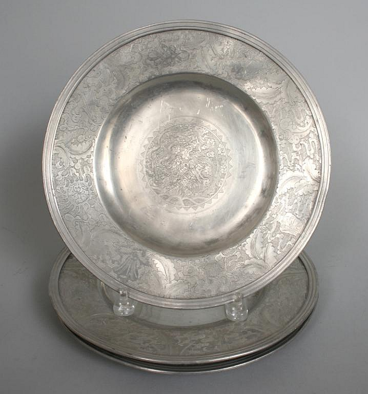 Three Chinese Pewter or Paktong Plates