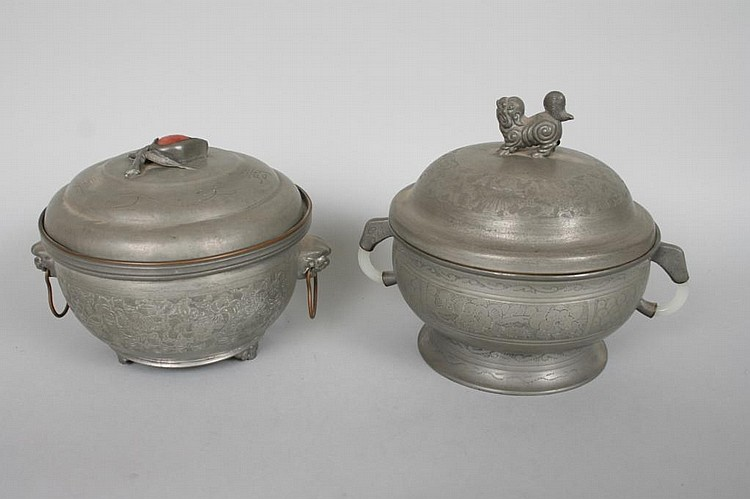 2 Chinese Pewter or Paktong Boxes
