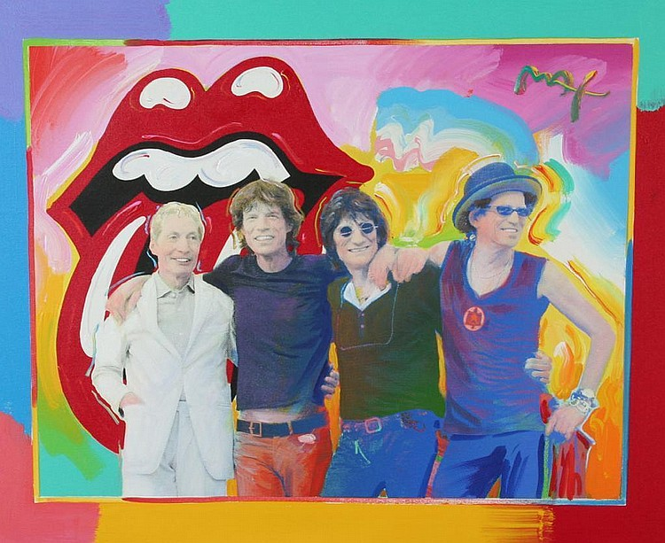 Peter Max Mixed Media Painting of Rolling Stones