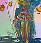Peter Max Blue-Yellow Vase Painting on Canvas