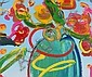 Peter Max Blue-Green Vase Painting on Canvas